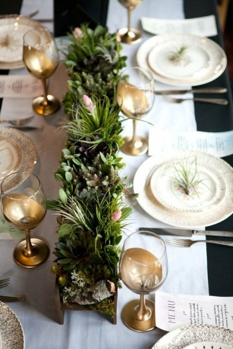 Green Gold Table Setting