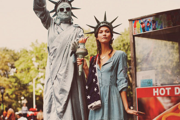 Karlie Kloss as Statue of Liberty
