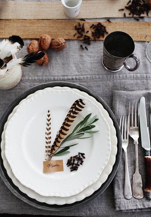 Feathers and Sage Place Setting
