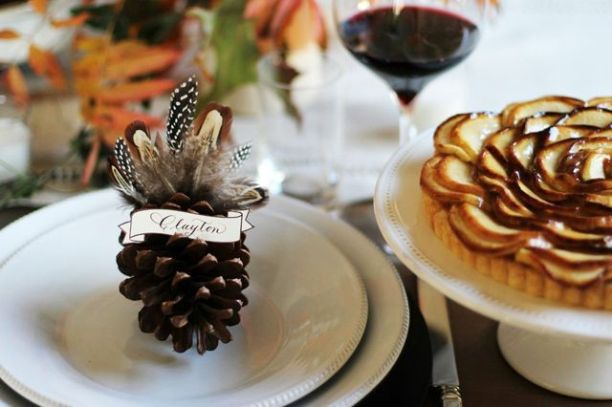 turkey pinecone placecard